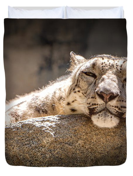 Snow Leopard Relaxing Duvet Cover