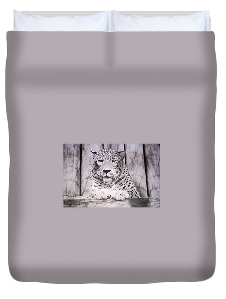 Duvet Cover featuring the photograph White Snow Leopard Chillin by Belinda Lee
