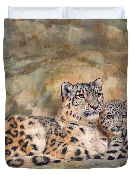 Snow Leopards Duvet Cover by David Stribbling