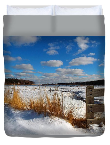 Duvet Cover featuring the photograph Snow Marsh by Dianne Cowen