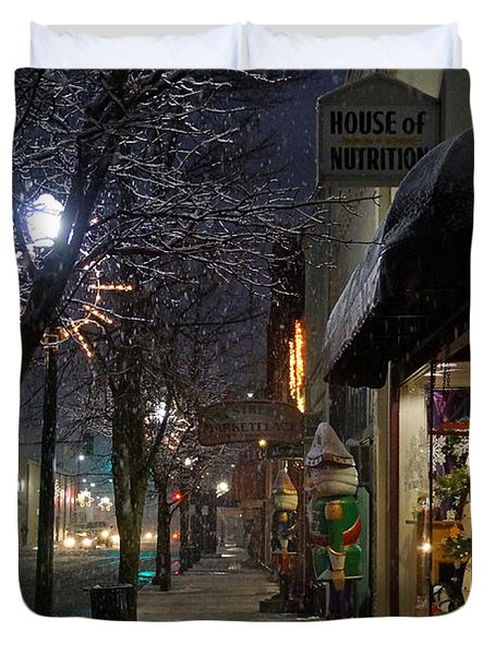 Snow On G Street 3 - Old Town Grants Pass Duvet Cover by Mick Anderson