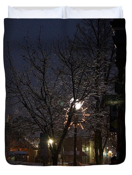 Snow On G Street 4 - Old Town Grants Pass Duvet Cover by Mick Anderson