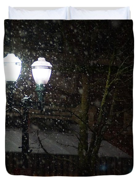 Snow On G Street In Grants Pass - Christmas Duvet Cover by Mick Anderson