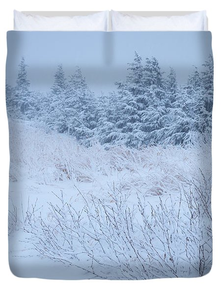Snow On New Years Eve Duvet Cover