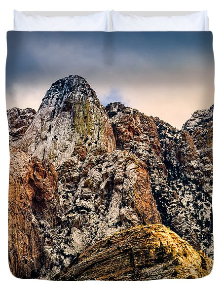 Duvet Cover featuring the photograph Snow On Peaks 45 by Mark Myhaver