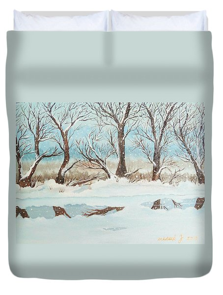 Snow On The Ema River 2 Duvet Cover