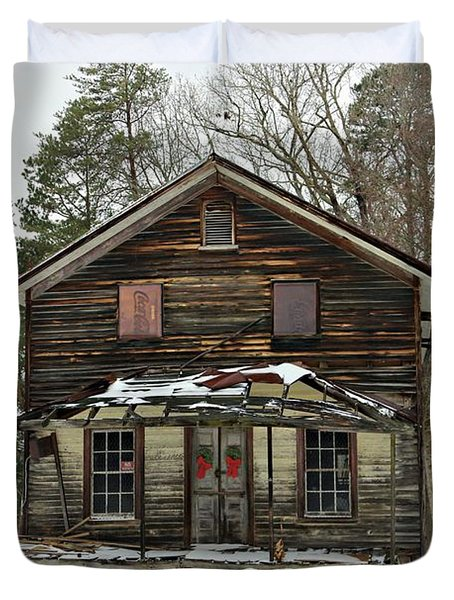 Snow On The General Store Duvet Cover by Benanne Stiens