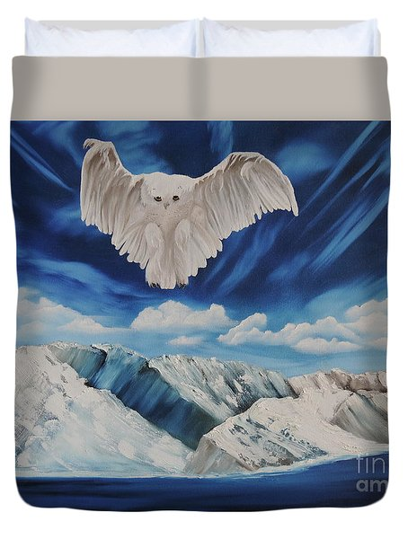 Duvet Cover featuring the painting Snow Owl by Dianna Lewis
