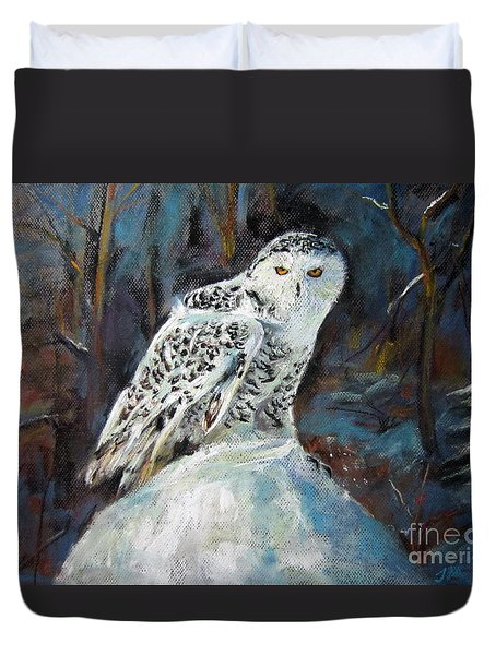 Duvet Cover featuring the painting Snow Owl by Jieming Wang
