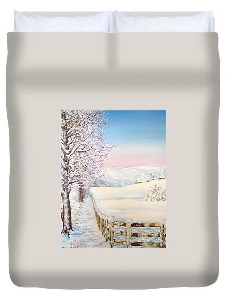 Duvet Cover featuring the painting Snow Path by Inese Poga