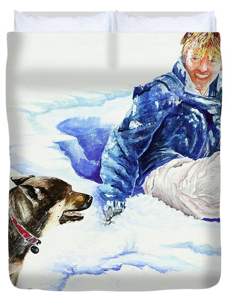 Snow Play Sadie And Andrew Duvet Cover