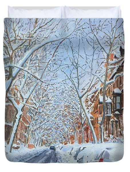 Snow Remsen St. Brooklyn New York Duvet Cover by Anthony Butera