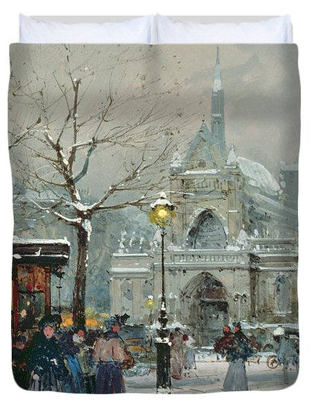 Snow Scene In Paris Duvet Cover by Eugene Galien-Laloue