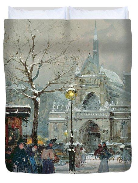 Snow Scene In Paris Duvet Cover