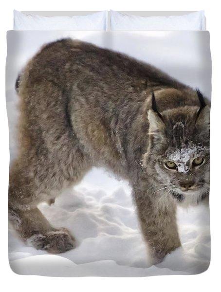 Snow-shovelling Lynx Duvet Cover by Dee Cresswell