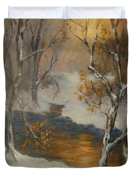Snow Sunset Paintings Duvet Cover