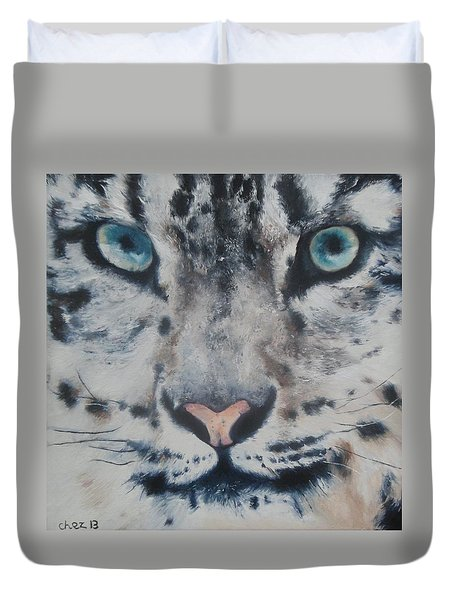 Snow Tiger Duvet Cover by Cherise Foster