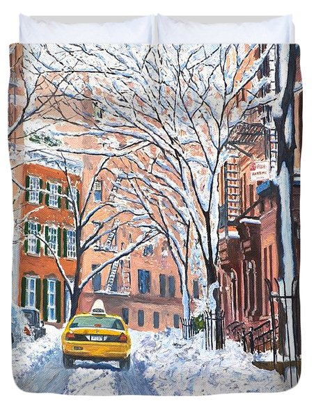 Snow West Village New York City Duvet Cover