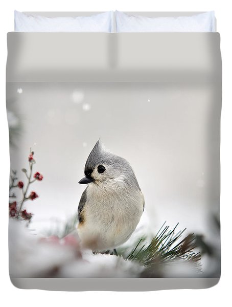 Snow White Tufted Titmouse Duvet Cover by Christina Rollo