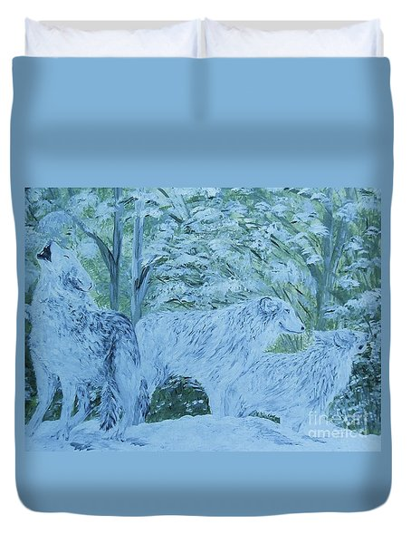 Duvet Cover featuring the painting Snow Wolves by Eloise Schneider