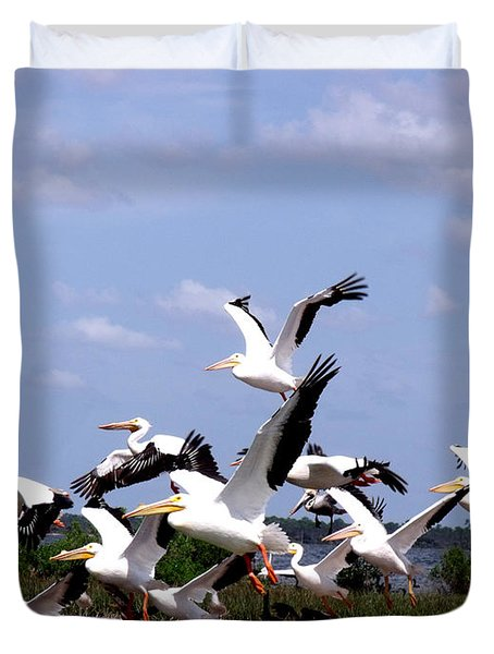 Snowbirds Heading South Duvet Cover