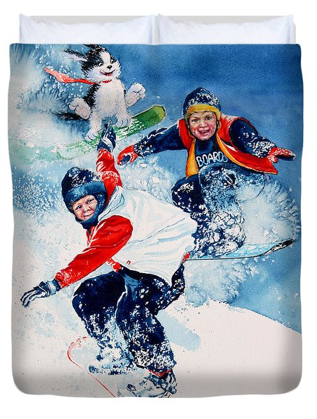 Duvet Cover featuring the painting Snowboard Super Heroes by Hanne Lore Koehler