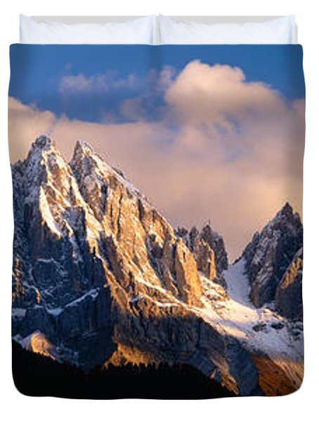 Snowcapped Mountain Peaks, Dolomites Duvet Cover by Panoramic Images