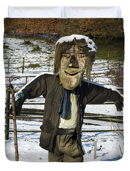 Snowcapped Scarecrow Duvet Cover by Anne Gilbert