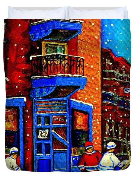 Snowday Hockey Practice Wilenskys Corner Fairmount And Clark Montreal City Scene Carole Spandau Duvet Cover by Carole Spandau