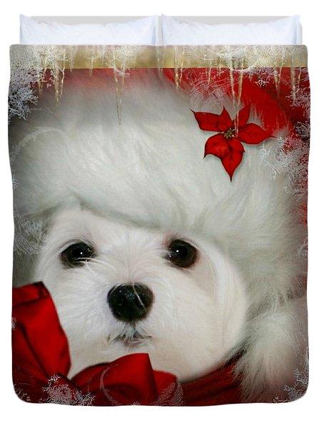 Snowdrop  And  Santa Hat Duvet Cover
