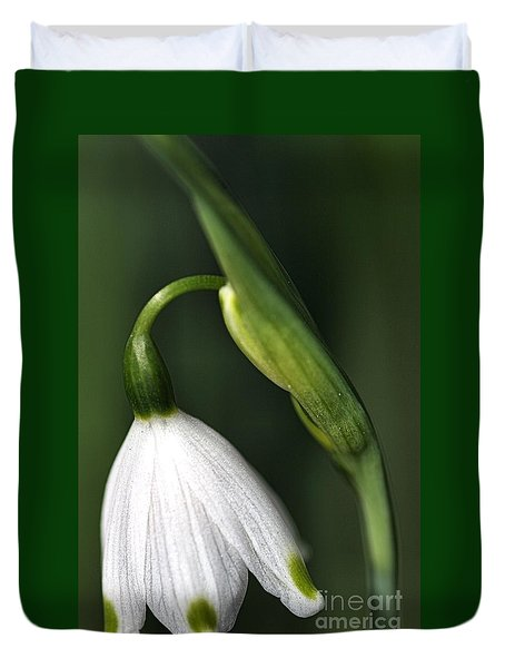 Duvet Cover featuring the photograph Snowdrop by Joy Watson