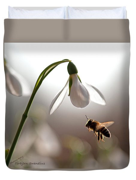 Snowdrops And The Bee Duvet Cover by Torbjorn Swenelius