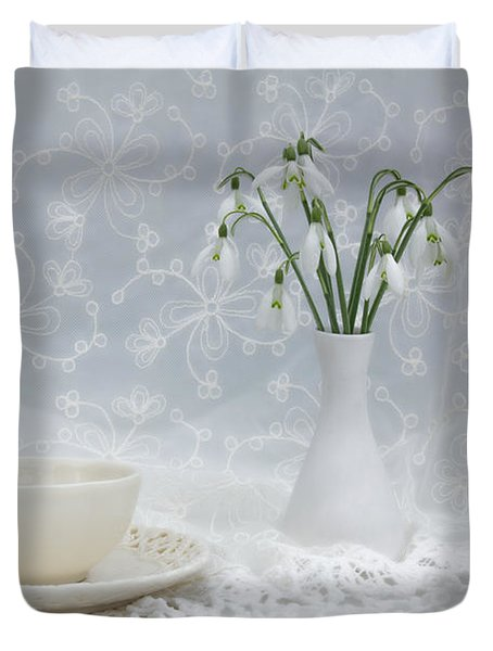 Snowdrops At Teatime Duvet Cover by Ann Garrett