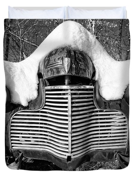 Snowed In A Thick Blanket Of Snow Covering A Vintage Chevy Duvet Cover