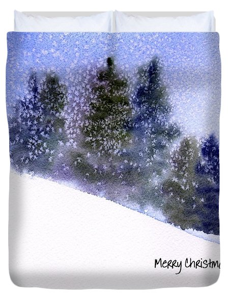 Duvet Cover featuring the painting Snowfall by Anne Duke