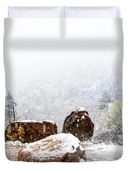 Snowfall On Red Rock Country Duvet Cover