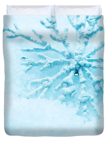 Snowflake In Snow Duvet Cover by Michal Bednarek