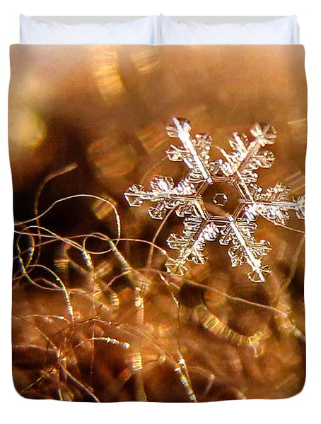 Snowflake On Brown Duvet Cover