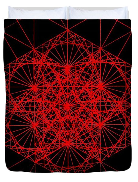 Duvet Cover featuring the drawing Snowflake Shape Comes From Frequency And Mass by Jason Padgett