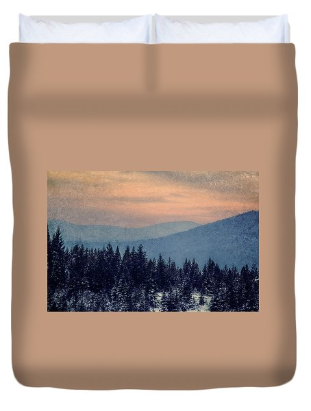 Snowing Sunset Duvet Cover by Melanie Lankford Photography