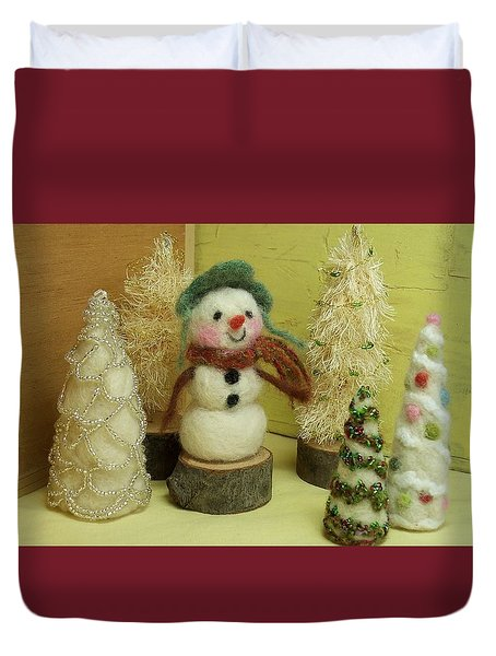 Snowman And Trees Holiday Duvet Cover
