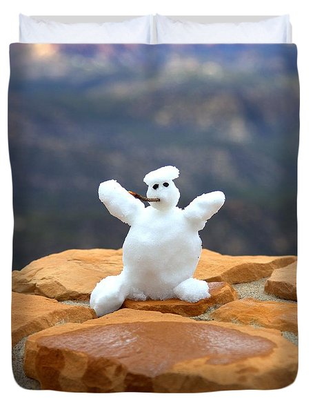 Snowman At Bryce - Square Duvet Cover