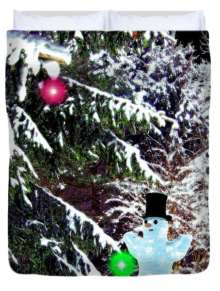 Duvet Cover featuring the digital art Snowman by Daniel Janda