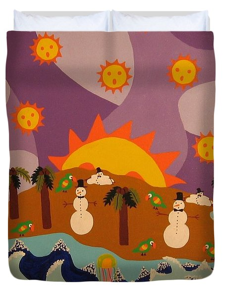 Duvet Cover featuring the painting Snowman Is An Island by Erika Chamberlin