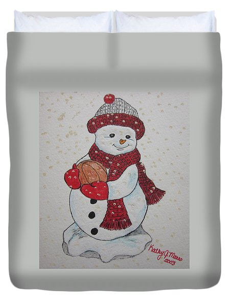 Snowman Playing Basketball Duvet Cover by Kathy Marrs Chandler