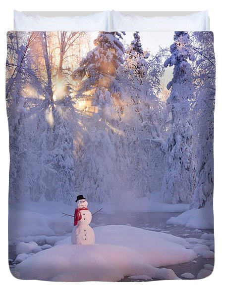 Snowman Standing On A Small Island Duvet Cover
