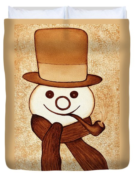 Snowman With Pipe And Topper Original Coffee Painting Duvet Cover by Georgeta  Blanaru