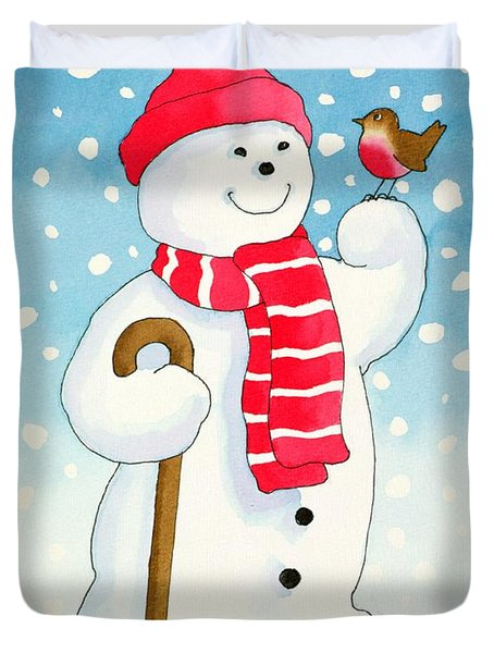 Snowmans Friend Duvet Cover by Lavinia Hamer