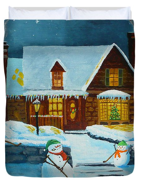 Snowmans Hockey Duvet Cover by Anthony Dunphy