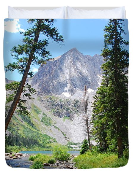 Duvet Cover featuring the photograph Snowmass Peak Landscape by Cascade Colors